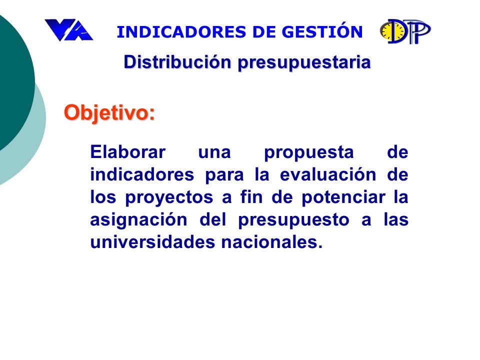 INDICADORES DE GESTIÓN Elaborar una propuesta de indicadores para la evaluación de los proyectos a fin de potenciar la asignación del presupuesto a la