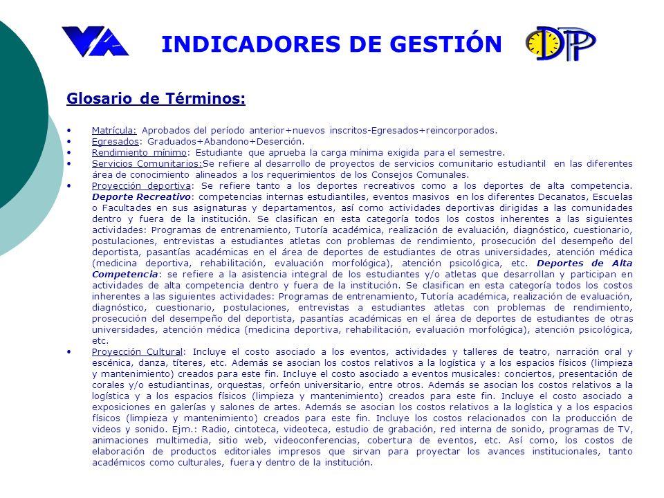 INDICADORES DE GESTIÓN Glosario de Términos: Matrícula: Aprobados del período anterior+nuevos inscritos-Egresados+reincorporados. Egresados: Graduados