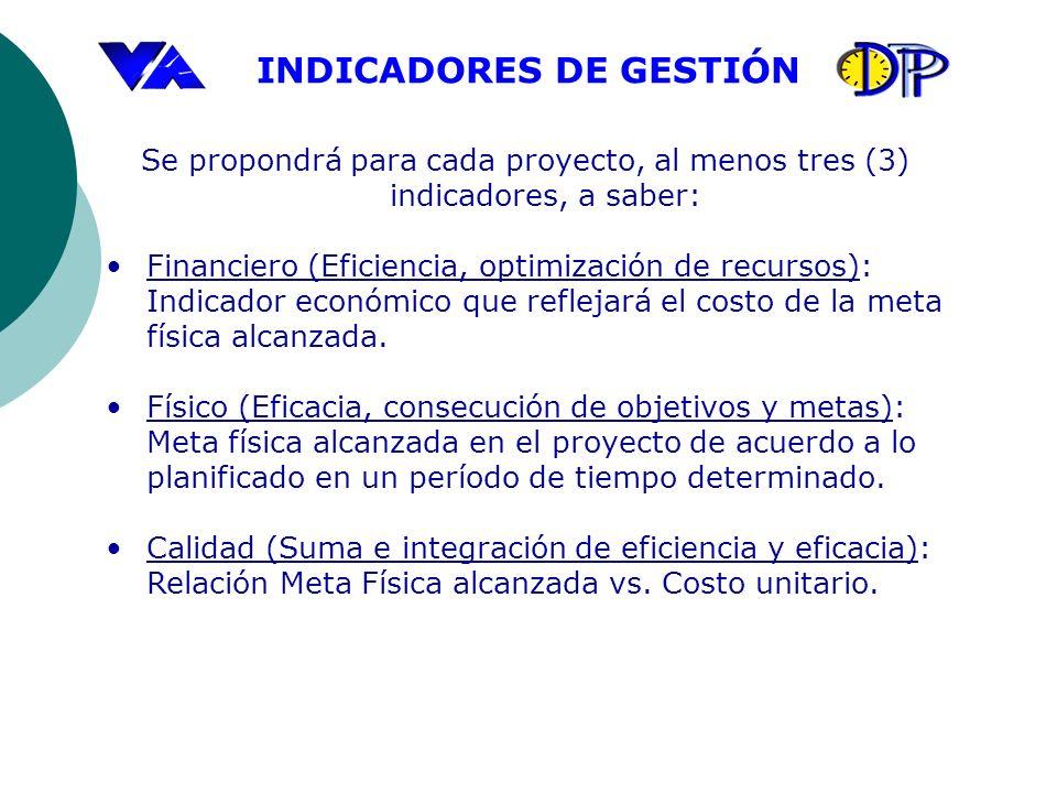 INDICADORES DE GESTIÓN Se propondrá para cada proyecto, al menos tres (3) indicadores, a saber: Financiero (Eficiencia, optimización de recursos): Ind