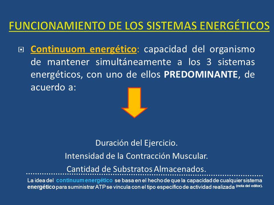 Continuuom energético: capacidad del organismo de mantener simultáneamente a los 3 sistemas energéticos, con uno de ellos PREDOMINANTE, de acuerdo a: