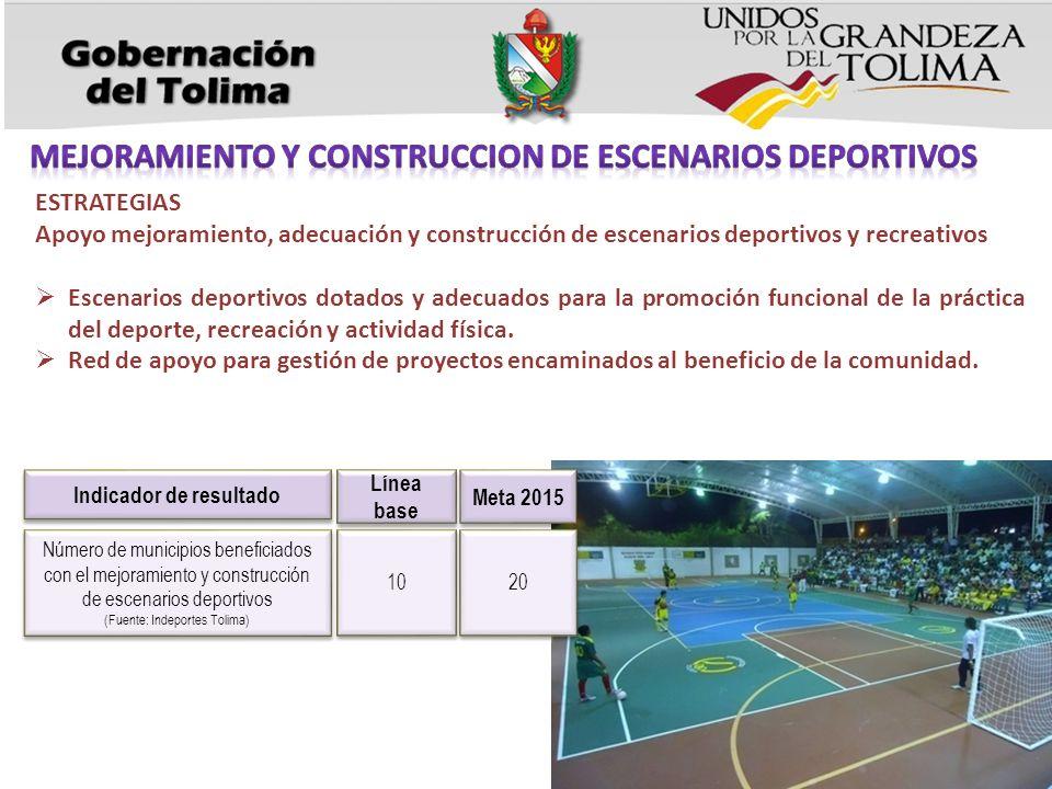 ESTRATEGIAS Apoyo mejoramiento, adecuación y construcción de escenarios deportivos y recreativos Escenarios deportivos dotados y adecuados para la promoción funcional de la práctica del deporte, recreación y actividad física.