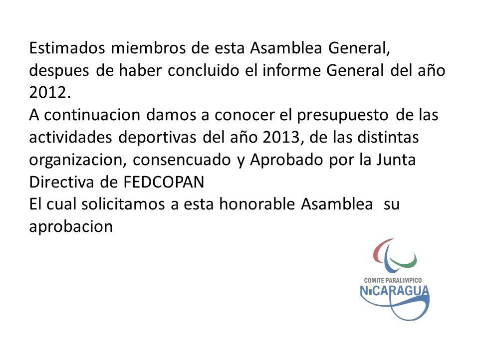 Estimados miembros de esta Asamblea General, despues de haber concluido el informe General del año 2012.