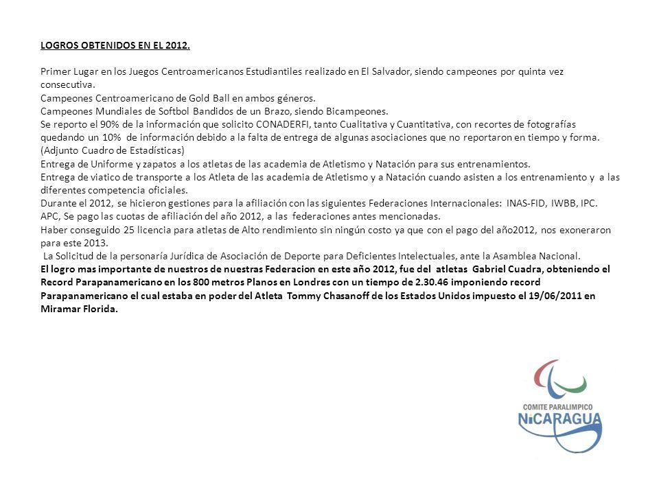 LOGROS OBTENIDOS EN EL 2012.