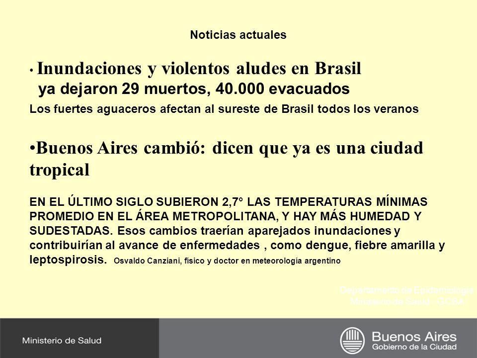 Departamento de Epidemiología Ministerio de Salud - GCBA Noticias actuales Inundaciones y violentos aludes en Brasil ya dejaron 29 muertos, 40.000 evacuados Los fuertes aguaceros afectan al sureste de Brasil todos los veranos Buenos Aires cambió: dicen que ya es una ciudad tropical EN EL ÚLTIMO SIGLO SUBIERON 2,7° LAS TEMPERATURAS MÍNIMAS PROMEDIO EN EL ÁREA METROPOLITANA, Y HAY MÁS HUMEDAD Y SUDESTADAS.