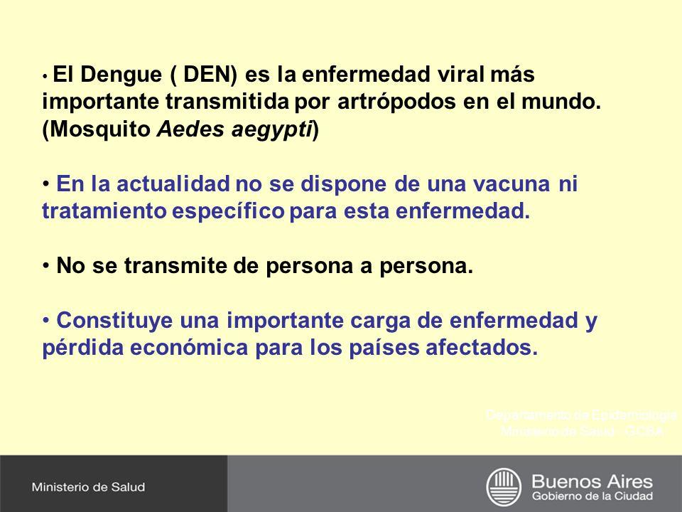 Departamento de Epidemiología Ministerio de Salud - GCBA El Dengue ( DEN) es la enfermedad viral más importante transmitida por artrópodos en el mundo