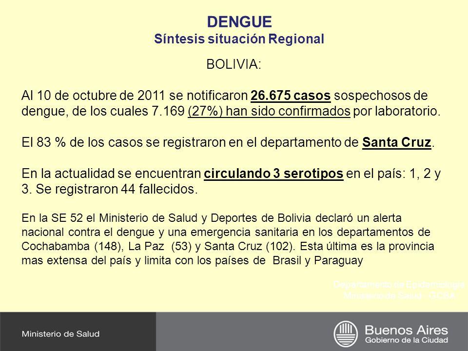 Departamento de Epidemiología Ministerio de Salud - GCBA DENGUE Síntesis situación Regional BRASIL: Hacia finales de noviembre de 2011, se notificaron 742.364 casos de Dengue, registrándose la circulación del virus dengue serotipo 1, 2, 3 y 4, con predominio del serotipo 1.