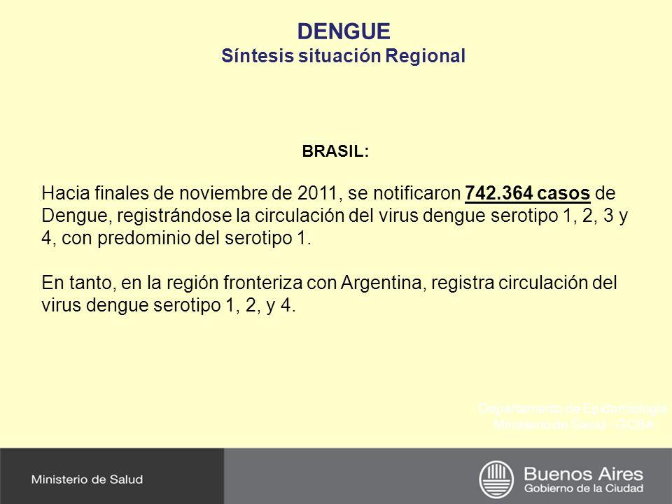 Departamento de Epidemiología Ministerio de Salud - GCBA DENGUE Síntesis situación Regional PARAGUAY: Paraguay es un país endémico para esta enfermedad aunque se siguen verificando áreas con corte de circulación viral.