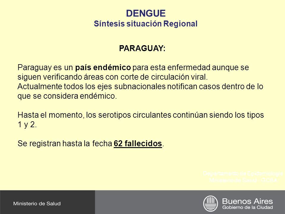 Departamento de Epidemiología Ministerio de Salud - GCBA DENGUE Síntesis situación Regional PARAGUAY: Paraguay es un país endémico para esta enfermeda