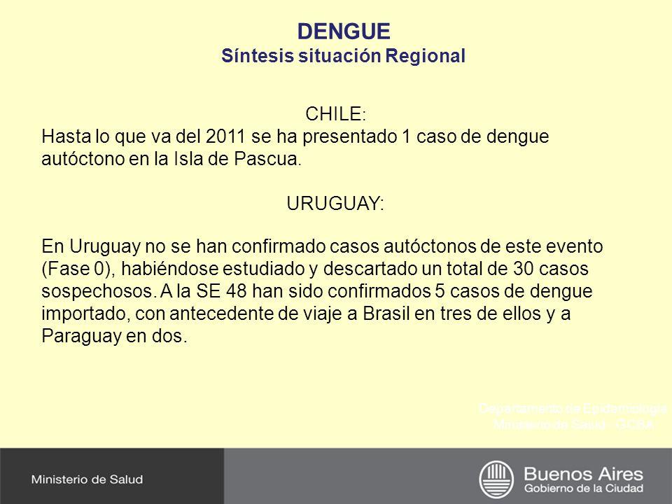 Departamento de Epidemiología Ministerio de Salud - GCBA DENGUE Síntesis situación Regional CHILE : Hasta lo que va del 2011 se ha presentado 1 caso de dengue autóctono en la Isla de Pascua.