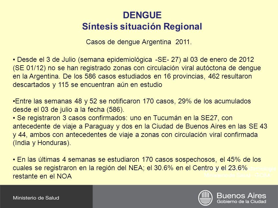 Departamento de Epidemiología Ministerio de Salud - GCBA DENGUE Síntesis situación Regional Casos de dengue Argentina 2011. Desde el 3 de Julio (seman