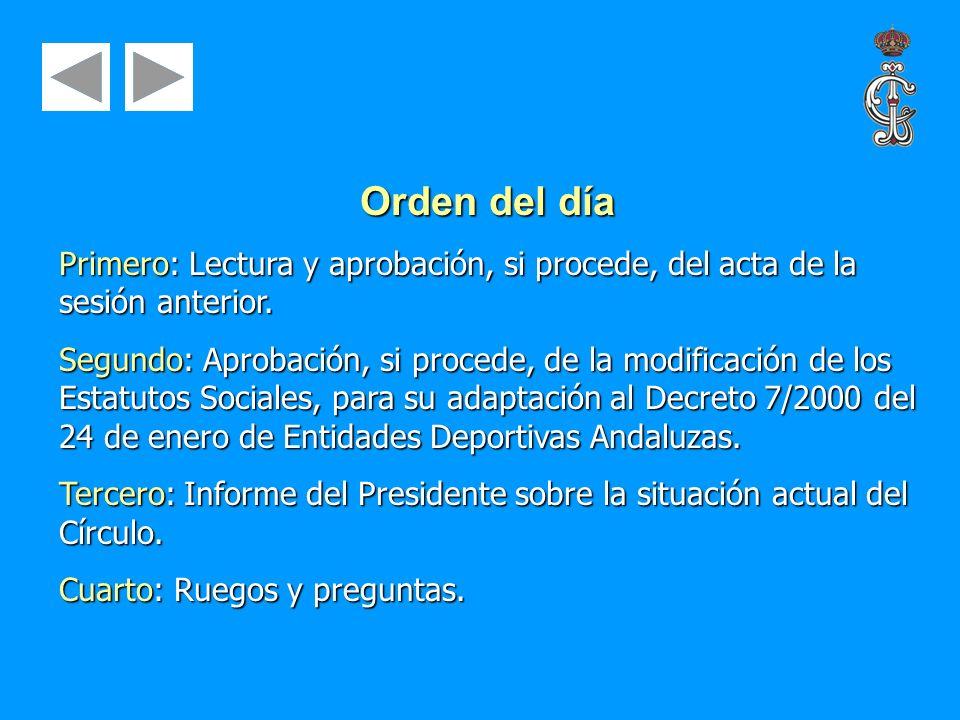 Orden del día Primero: Lectura y aprobación, si procede, del acta de la sesión anterior. Segundo: Aprobación, si procede, de la modificación de los Es