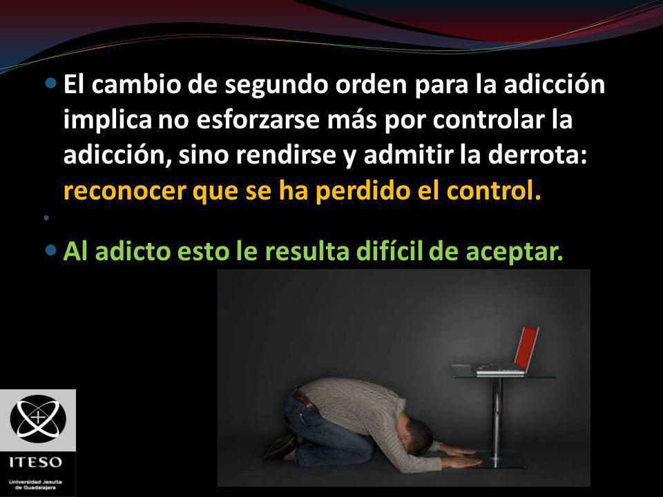 El cambio de segundo orden para la adicción implica no esforzarse más por controlar la adicción, sino rendirse y admitir la derrota: reconocer que se
