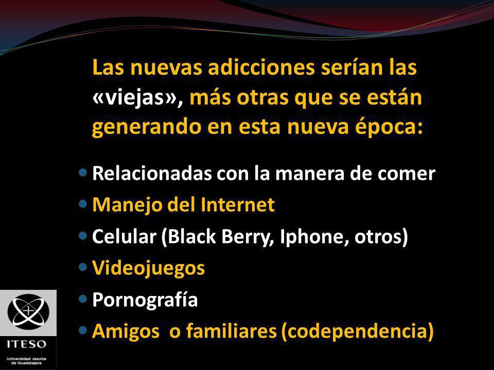 Las nuevas adicciones serían las «viejas», más otras que se están generando en esta nueva época: Relacionadas con la manera de comer Manejo del Intern