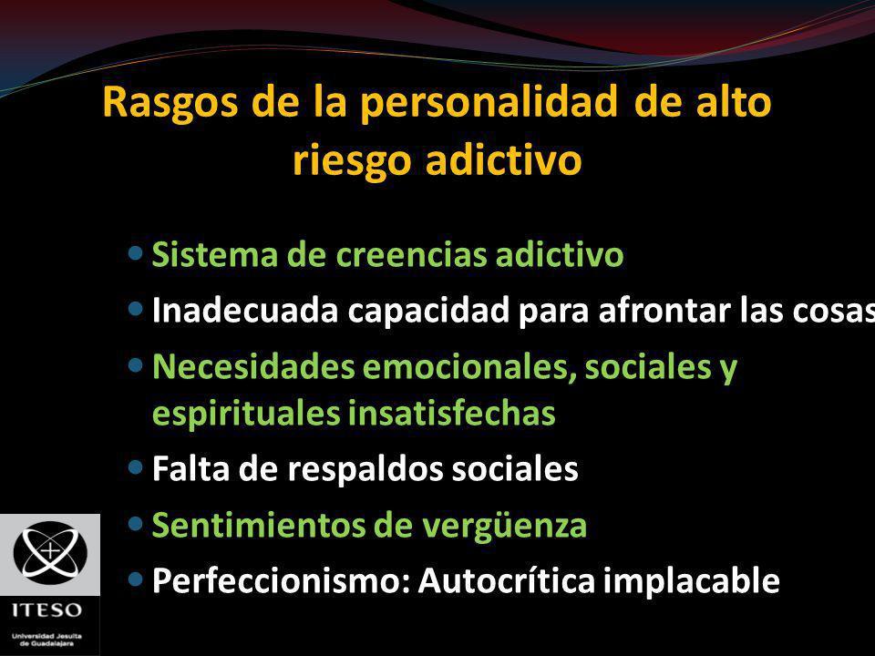 Rasgos de la personalidad de alto riesgo adictivo Sistema de creencias adictivo Inadecuada capacidad para afrontar las cosas Necesidades emocionales,