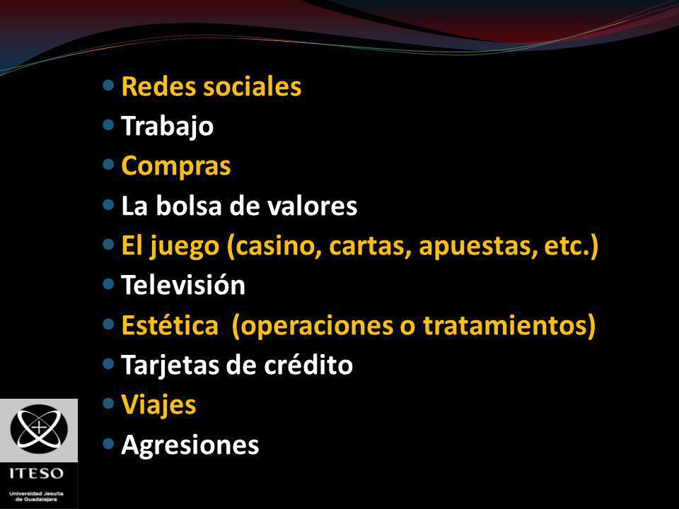 Redes sociales Trabajo Compras La bolsa de valores El juego (casino, cartas, apuestas, etc.) Televisión Estética (operaciones o tratamientos) Tarjetas