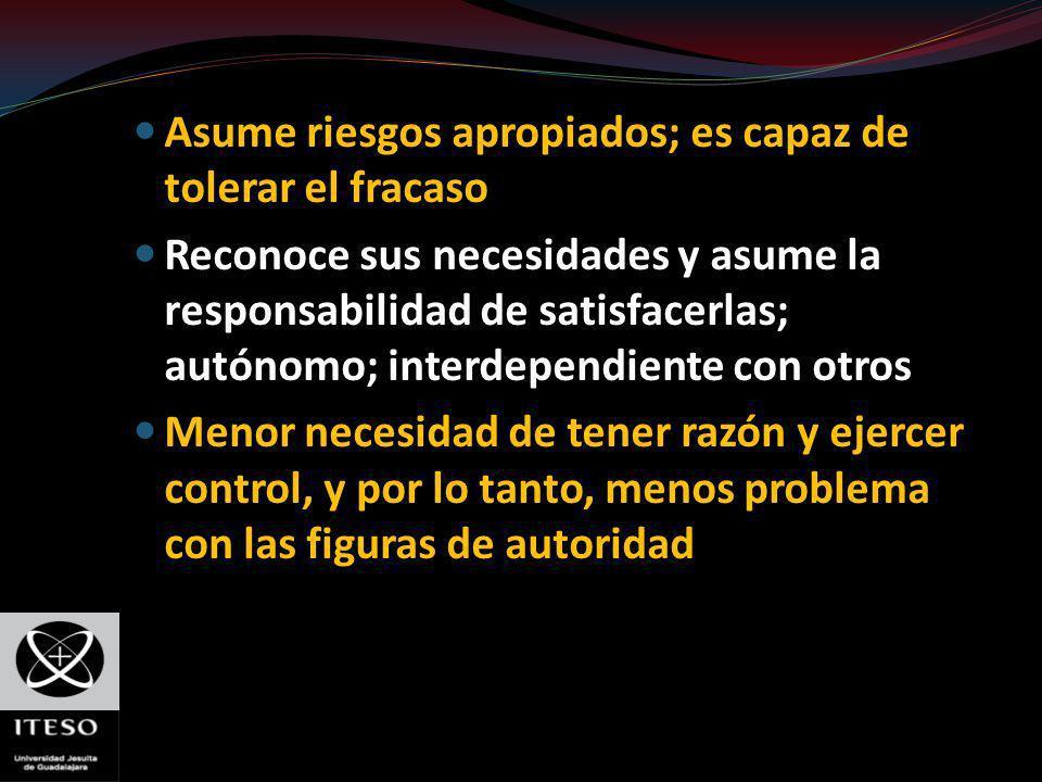 Asume riesgos apropiados; es capaz de tolerar el fracaso Reconoce sus necesidades y asume la responsabilidad de satisfacerlas; autónomo; interdependie