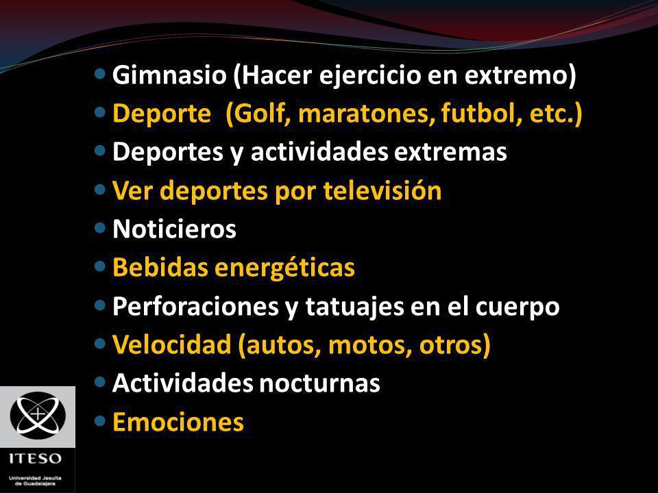 Gimnasio (Hacer ejercicio en extremo) Deporte (Golf, maratones, futbol, etc.) Deportes y actividades extremas Ver deportes por televisión Noticieros B
