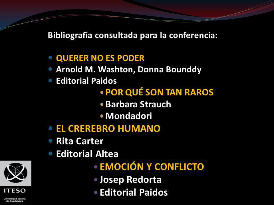 Bibliografía consultada para la conferencia: QUERER NO ES PODER Arnold M. Washton, Donna Bounddy Editorial Paidos POR QUÉ SON TAN RAROS Barbara Strauc