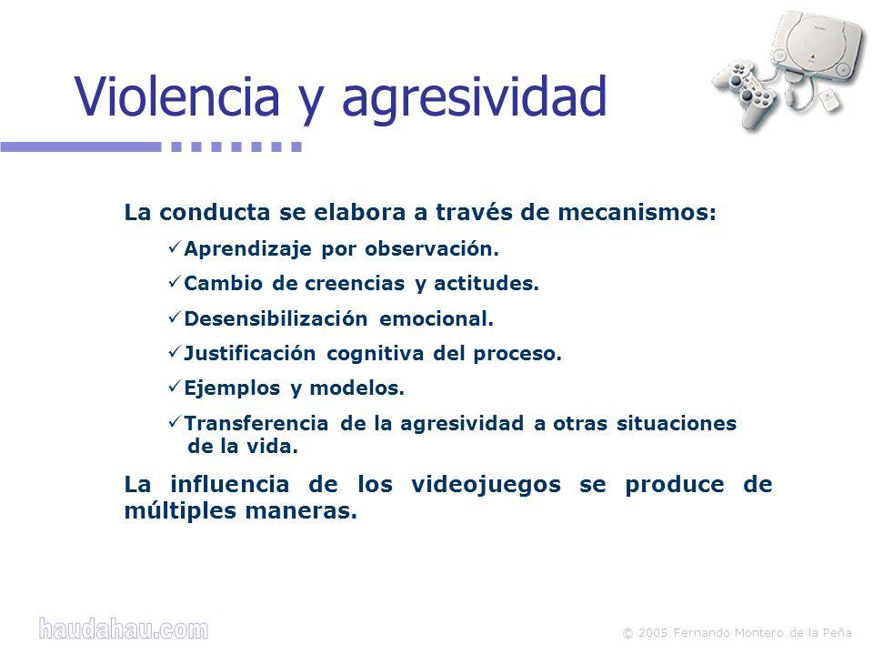 © 2005 Fernando Montero de la Peña La conducta se elabora a través de mecanismos: Aprendizaje por observación. Cambio de creencias y actitudes. Desens