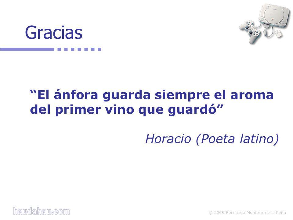 © 2005 Fernando Montero de la Peña Gracias El ánfora guarda siempre el aroma del primer vino que guardó Horacio (Poeta latino)