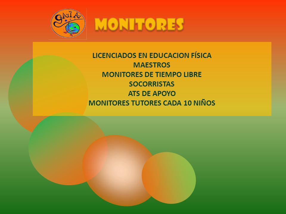 LICENCIADOS EN EDUCACION FÍSICA MAESTROS MONITORES DE TIEMPO LIBRE SOCORRISTAS ATS DE APOYO MONITORES TUTORES CADA 10 NIÑOS