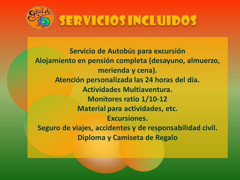 Servicio de Autobús para excursión Alojamiento en pensión completa (desayuno, almuerzo, merienda y cena). Atención personalizada las 24 horas del día.