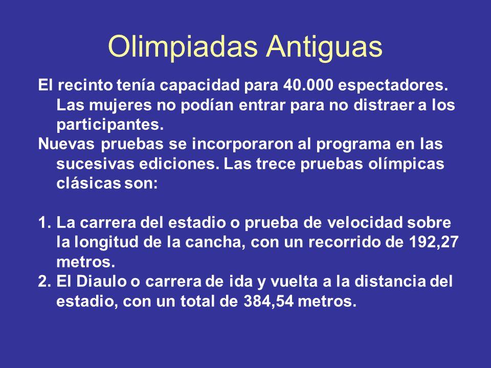 Olimpiadas Antiguas El recinto tenía capacidad para 40.000 espectadores. Las mujeres no podían entrar para no distraer a los participantes. Nuevas pru