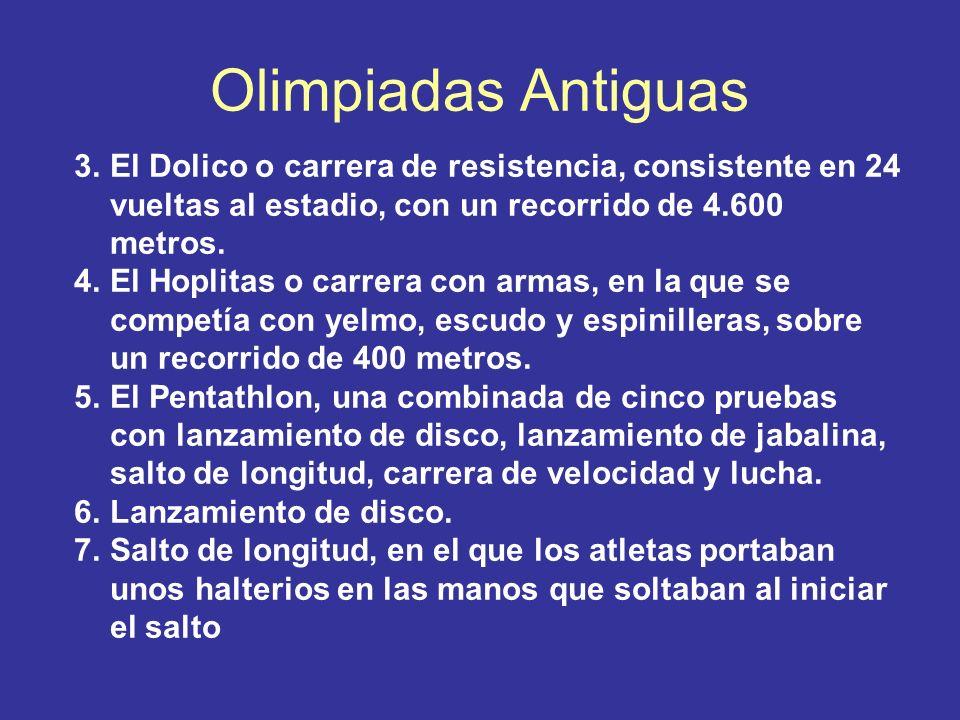 Olimpiadas Antiguas 3.El Dolico o carrera de resistencia, consistente en 24 vueltas al estadio, con un recorrido de 4.600 metros. 4.El Hoplitas o carr