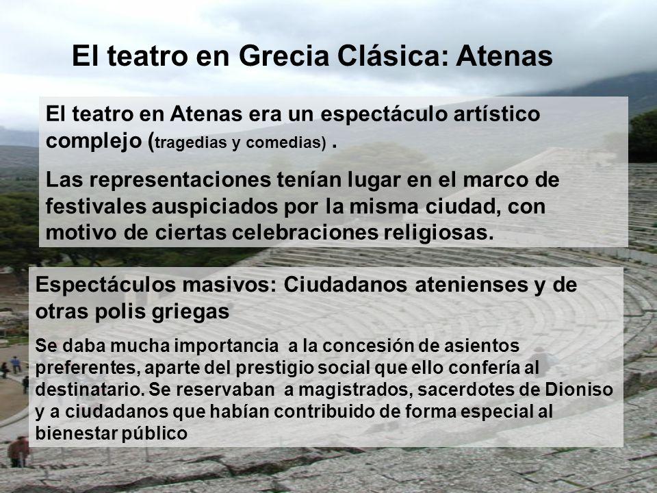 El teatro en Atenas era un espectáculo artístico complejo ( tragedias y comedias). Las representaciones tenían lugar en el marco de festivales auspici