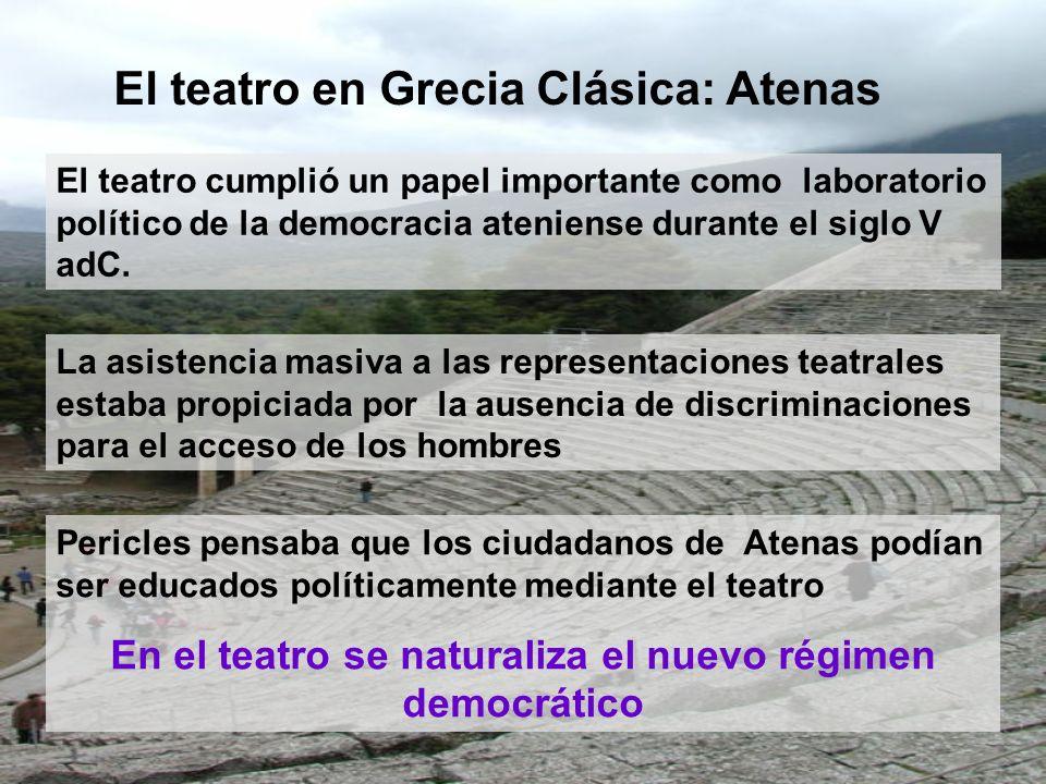 El teatro cumplió un papel importante como laboratorio político de la democracia ateniense durante el siglo V adC. El teatro en Grecia Clásica: Atenas