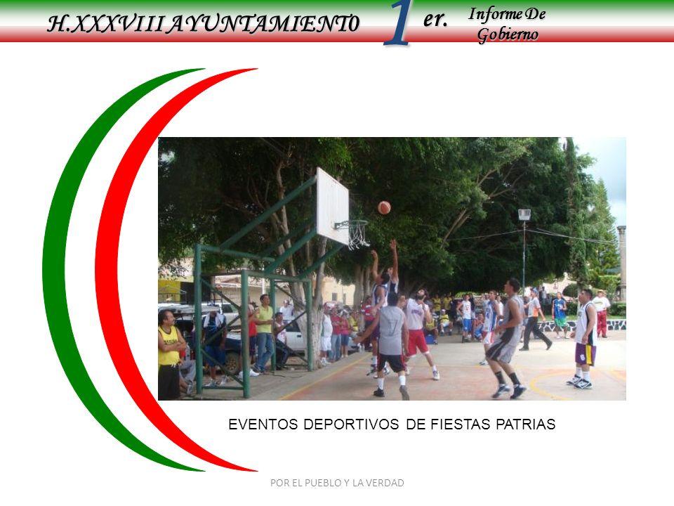Informe De Gobierno Informe De Gobierno er.1 H.XXXVIII AYUNTAMIENT0 EVENTOS DEPORTIVOS DE FIESTAS PATRIAS POR EL PUEBLO Y LA VERDAD