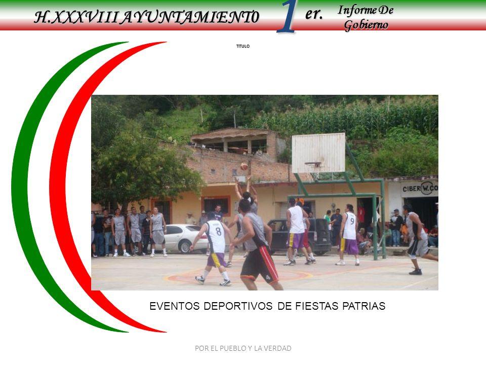 Informe De Gobierno Informe De Gobierno er.1 TITULO H.XXXVIII AYUNTAMIENT0 POR EL PUEBLO Y LA VERDAD EVENTOS DEPORTIVOS DE FIESTAS PATRIAS