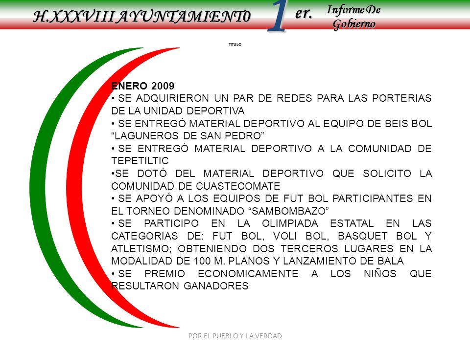 Informe De Gobierno Informe De Gobierno er.1 TITULO H.XXXVIII AYUNTAMIENT0 ENERO 2009 SE ADQUIRIERON UN PAR DE REDES PARA LAS PORTERIAS DE LA UNIDAD D