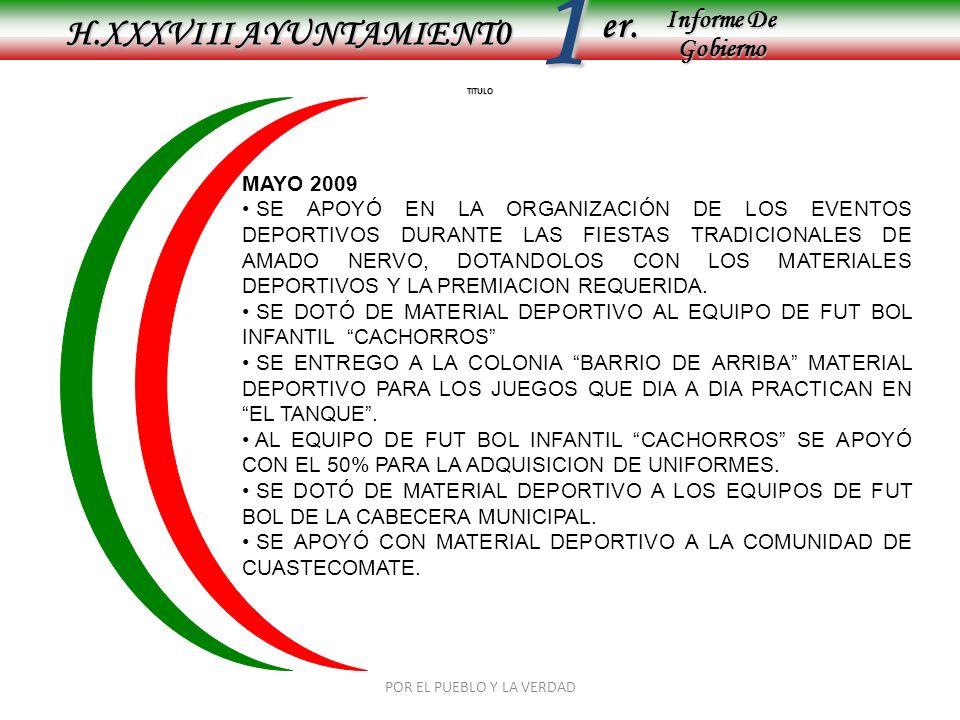 Informe De Gobierno Informe De Gobierno er.1 TITULO H.XXXVIII AYUNTAMIENT0 MAYO 2009 SE APOYÓ EN LA ORGANIZACIÓN DE LOS EVENTOS DEPORTIVOS DURANTE LAS