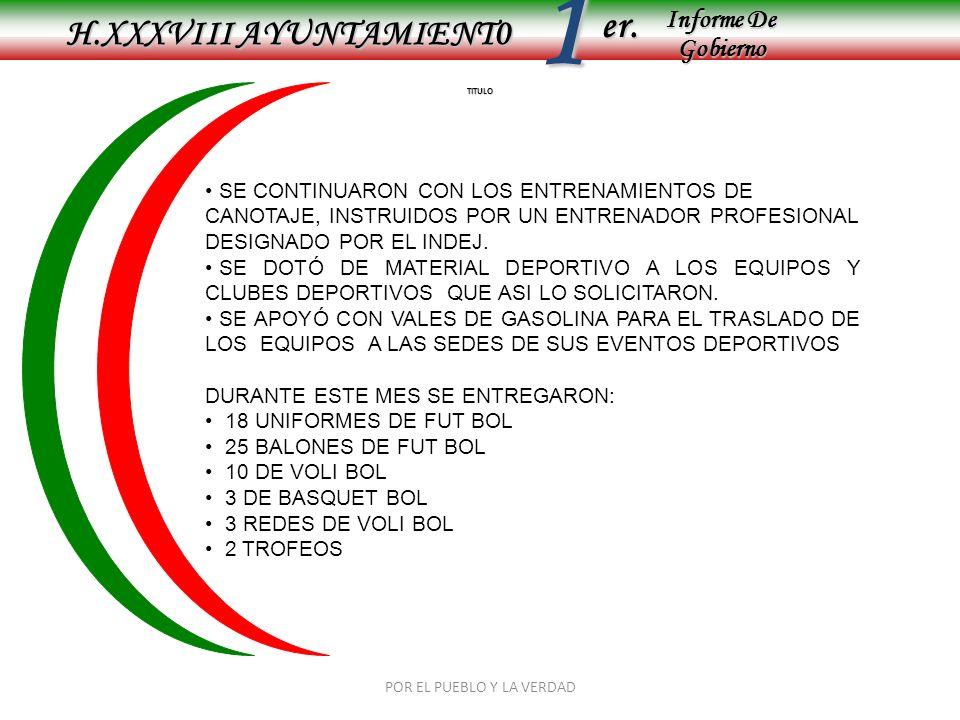 Informe De Gobierno Informe De Gobierno er.1 TITULO H.XXXVIII AYUNTAMIENT0 POR EL PUEBLO Y LA VERDAD SE CONTINUARON CON LOS ENTRENAMIENTOS DE CANOTAJE