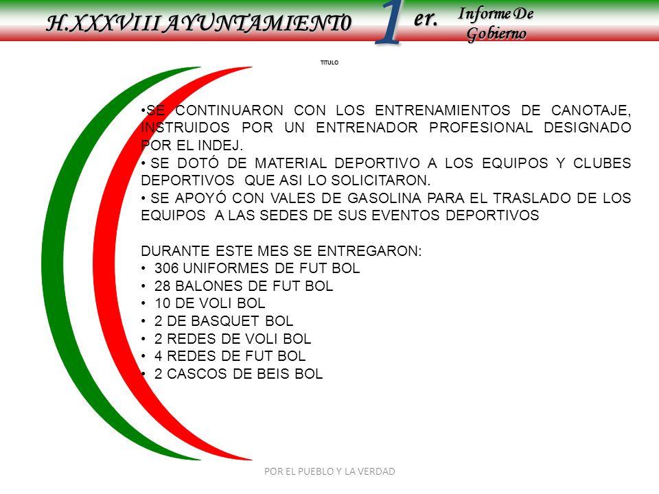 Informe De Gobierno Informe De Gobierno er.1 TITULO H.XXXVIII AYUNTAMIENT0 SE CONTINUARON CON LOS ENTRENAMIENTOS DE CANOTAJE, INSTRUIDOS POR UN ENTREN