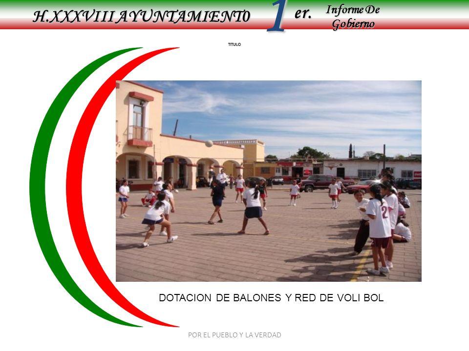 Informe De Gobierno Informe De Gobierno er.1 TITULO H.XXXVIII AYUNTAMIENT0 DOTACION DE BALONES Y RED DE VOLI BOL POR EL PUEBLO Y LA VERDAD