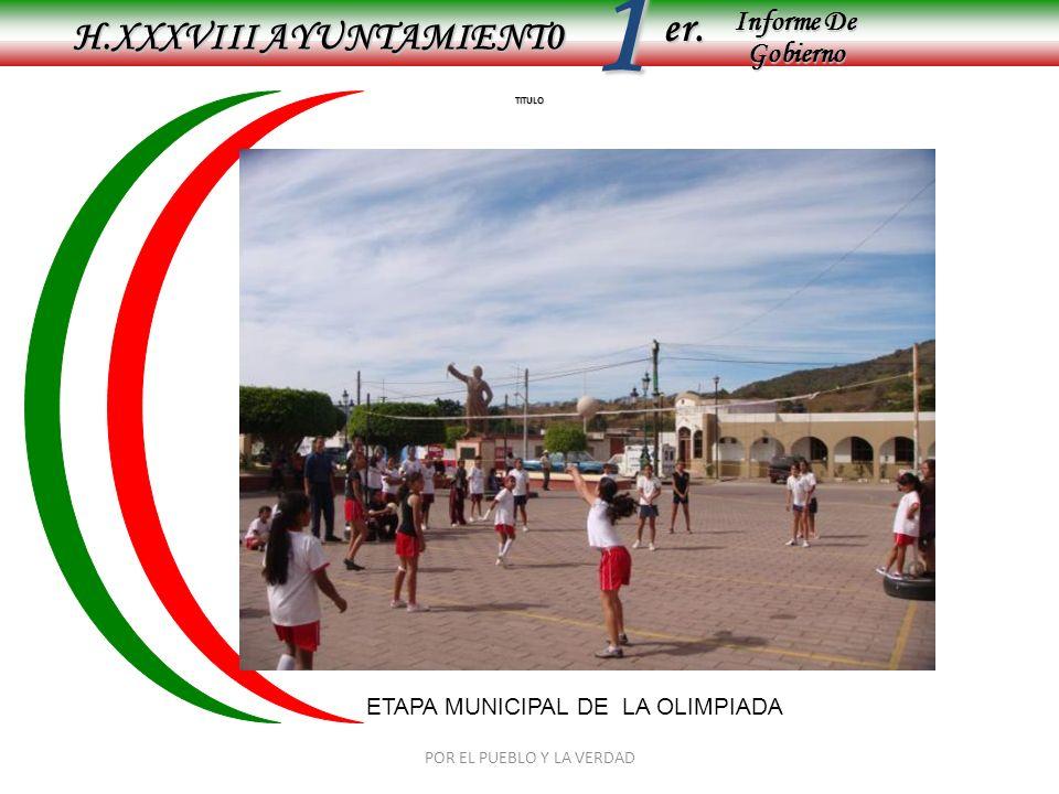 Informe De Gobierno Informe De Gobierno er.1 TITULO H.XXXVIII AYUNTAMIENT0 POR EL PUEBLO Y LA VERDAD ETAPA MUNICIPAL DE LA OLIMPIADA