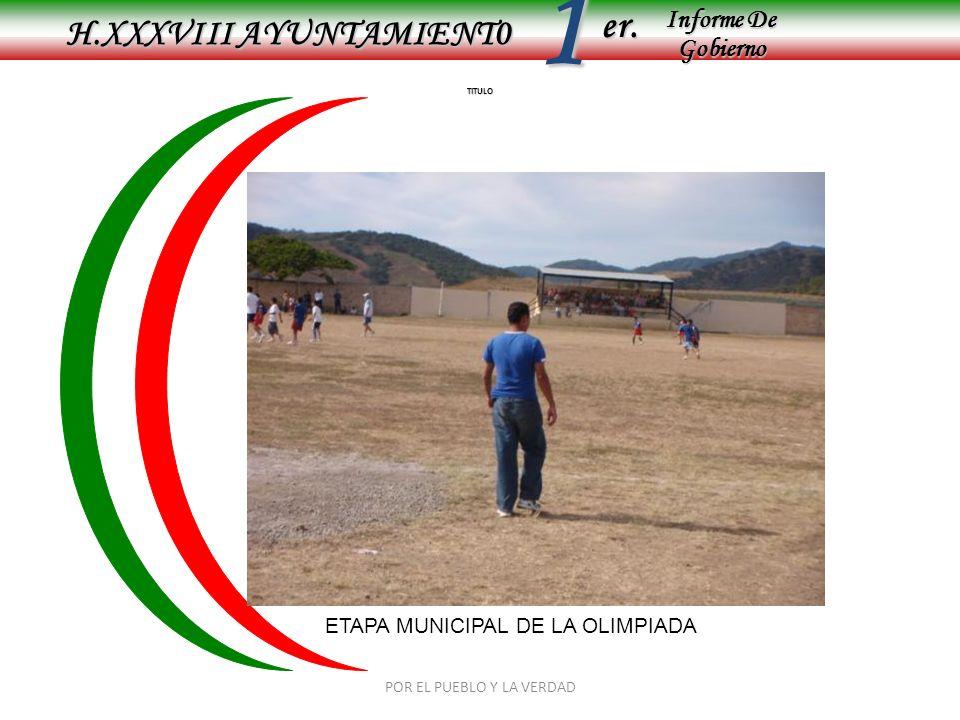 Informe De Gobierno Informe De Gobierno er.1 TITULO H.XXXVIII AYUNTAMIENT0 ETAPA MUNICIPAL DE LA OLIMPIADA POR EL PUEBLO Y LA VERDAD