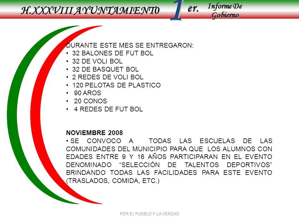 Informe De Gobierno Informe De Gobierno er.1 H.XXXVIII AYUNTAMIENT0 POR EL PUEBLO Y LA VERDAD DURANTE ESTE MES SE ENTREGARON: 32 BALONES DE FUT BOL 32