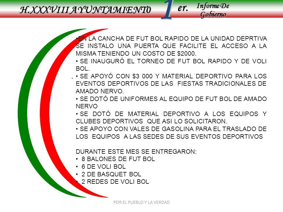 Informe De Gobierno Informe De Gobierno er.1 ENERO 2009 H.XXXVIII AYUNTAMIENT0 POR EL PUEBLO Y LA VERDAD TORNEO DEL SAMBOMBAZO
