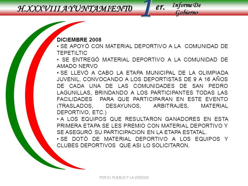 Informe De Gobierno Informe De Gobierno er.1 H.XXXVIII AYUNTAMIENT0 POR EL PUEBLO Y LA VERDAD DICIEMBRE 2008 SE APOYÓ CON MATERIAL DEPORTIVO A LA COMU
