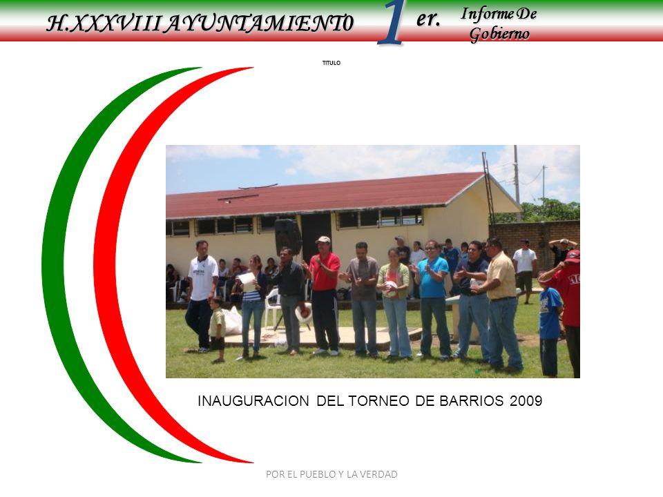 Informe De Gobierno Informe De Gobierno er.1 TITULO H.XXXVIII AYUNTAMIENT0 INAUGURACION DEL TORNEO DE BARRIOS 2009 POR EL PUEBLO Y LA VERDAD