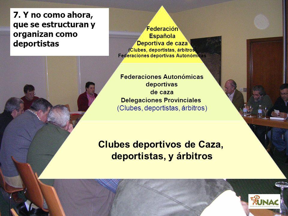 7. Y no como ahora, que se estructuran y organizan como deportistas Federación Española Deportiva de caza (Clubes, deportistas, árbitros) Federaciones