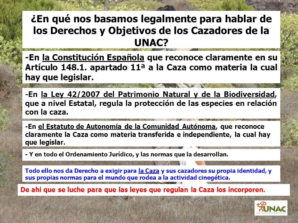 -En la Constitución Española que reconoce claramente en su Artículo 148.1. apartado 11ª a la Caza como materia la cual hay que legislar. ¿En qué nos b