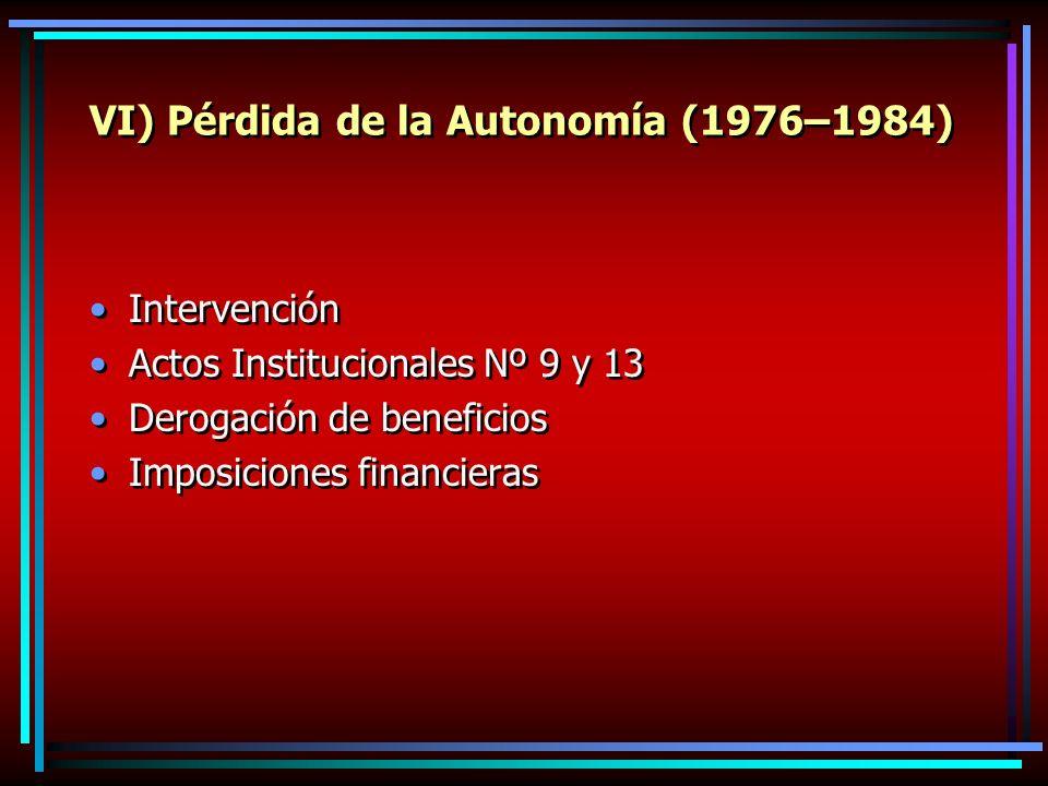 VI) Pérdida de la Autonomía (1976–1984) Intervención Actos Institucionales Nº 9 y 13 Derogación de beneficios Imposiciones financieras Intervención Actos Institucionales Nº 9 y 13 Derogación de beneficios Imposiciones financieras