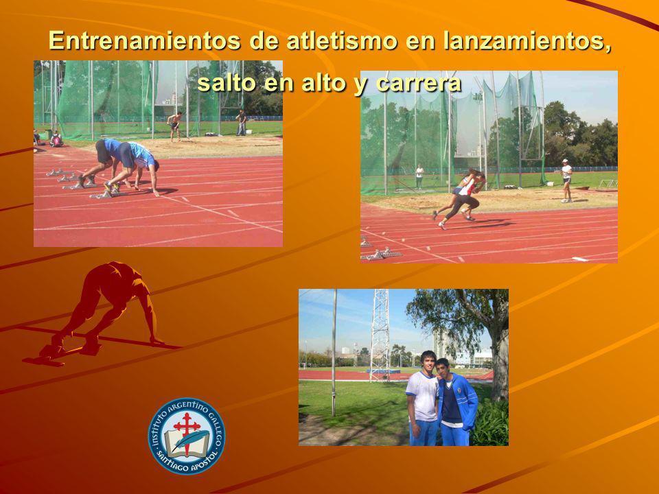 Entrenamientos de atletismo en lanzamientos, salto en alto y carrera