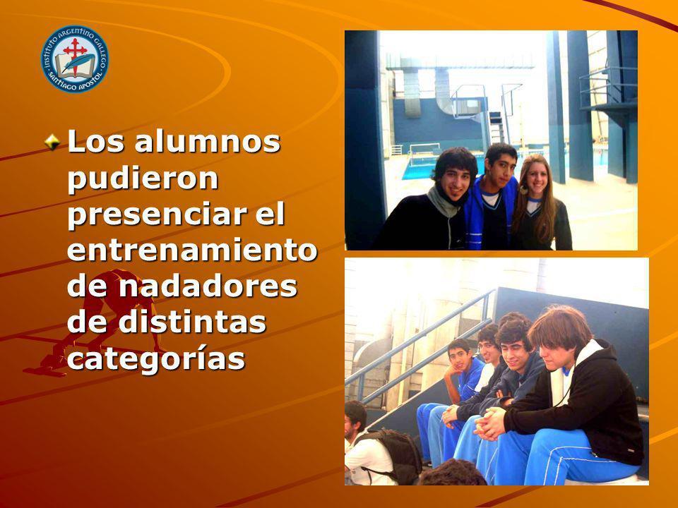 Los alumnos pudieron presenciar el entrenamiento de nadadores de distintas categorías