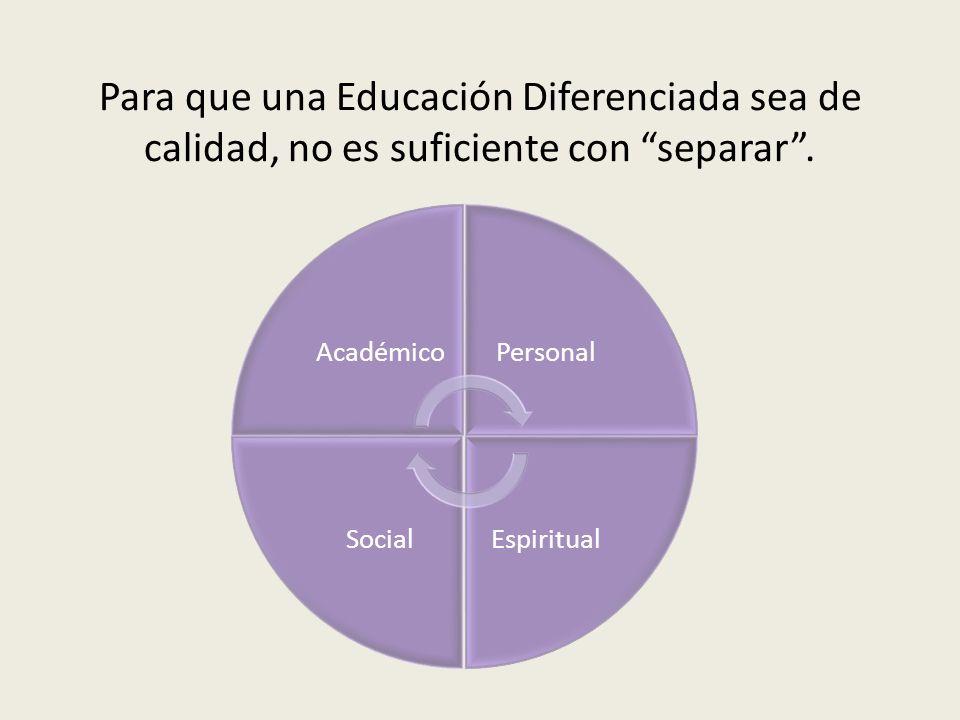 Para que una Educación Diferenciada sea de calidad, no es suficiente con separar. AcadémicoPersonal EspiritualSocial