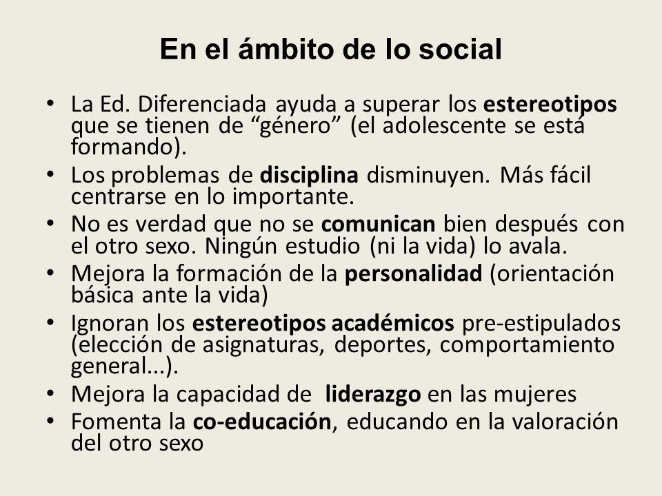 En el ámbito de lo social La Ed.